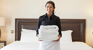 hotel bed making assistant female